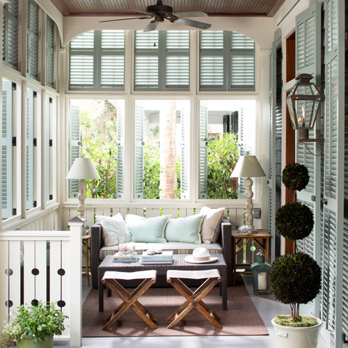 Cream Porch with Green Shutters